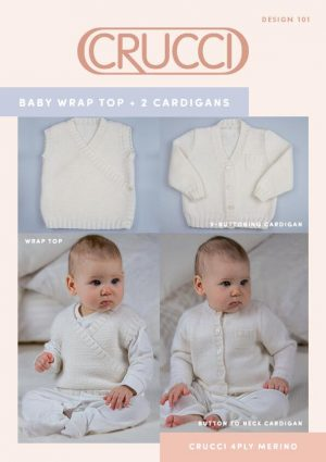 Crucci Pattern 101 Baby 4ply Wrap Top & Cardigans